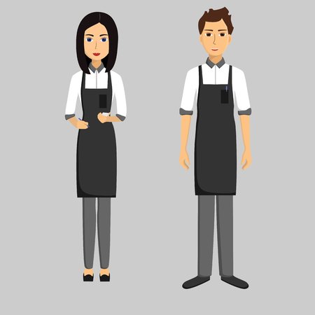 Waiters. Girl and men. Taking order. Vector flat illustration