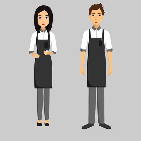 Waiters. Girl and men. Taking order. Vector flat illustration
