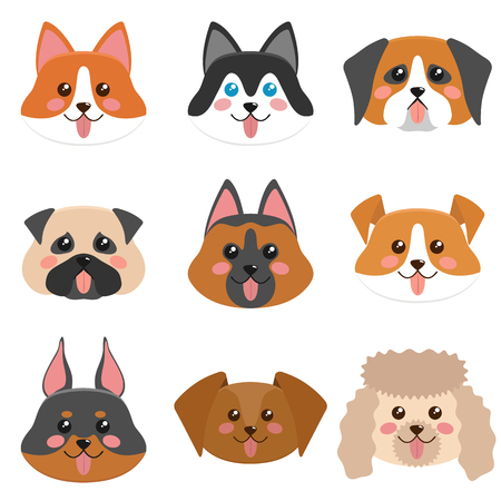Cute dog faces collection illustration. Illustration