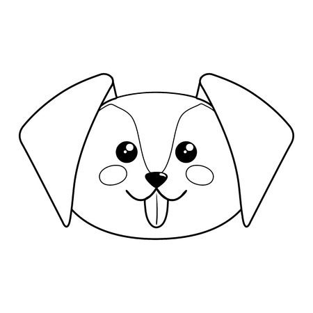 Cute dog face. Vector illustration on white background.