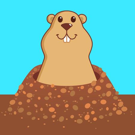 Groundhog day character of marmot vector illustration.
