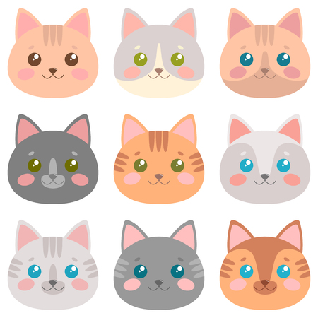 Cute cat faces set Vector illustration.