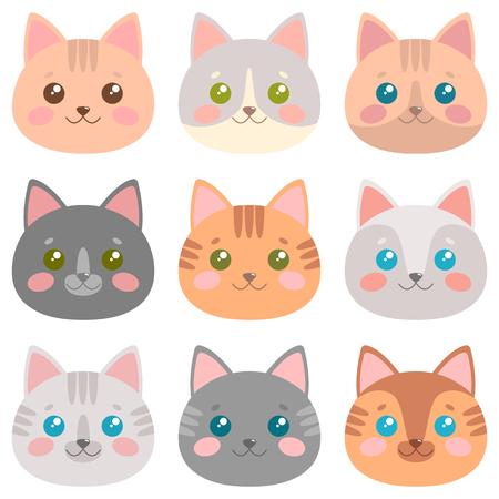 Cute cat faces set Vector illustration.