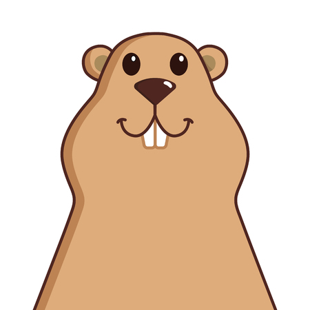 Happy Groundhog Day. Cute groundhog face. Vector illustration Illustration