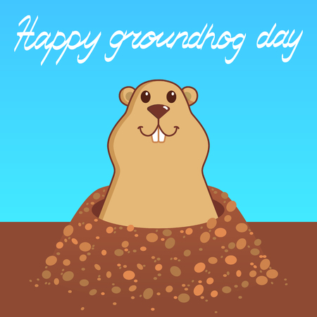 Groundhog day. Character of marmot. Vector illustration