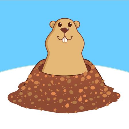 Groundhog day. Character of marmot. Vector illustration
