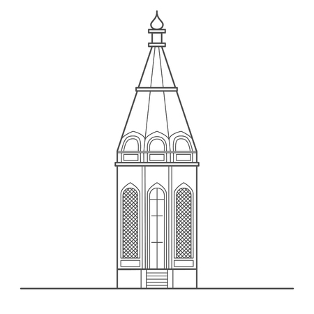 Church building outline illustration isolated on white background. Religion symbol