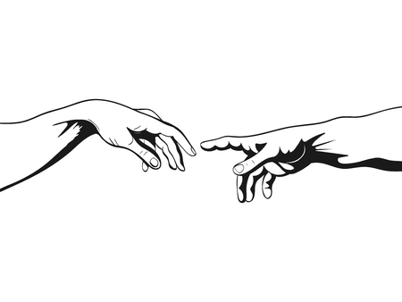 Adam and God hands vector illustration 일러스트