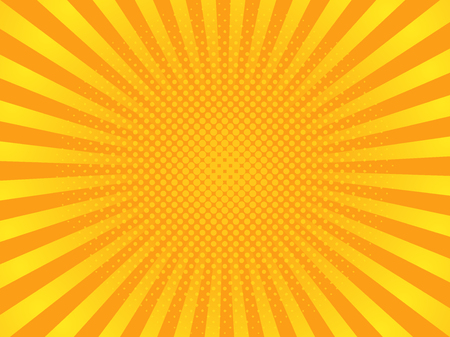 Pop art yellow rays image illustration Иллюстрация