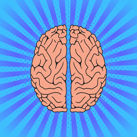 Comic Human brain. Pop Art vintage vector illustration Illustration
