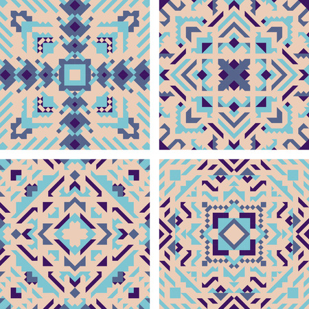 Tile pattern mosaic design vector illustration design set Stock Illustratie