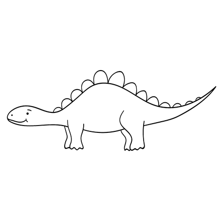 Cute cartoon dinosaur isolated on white background. Vector illustration