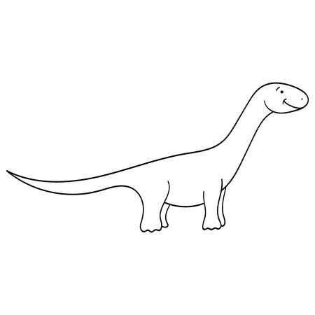 Cute cartoon dinosaur isolated on white background vector illustration.