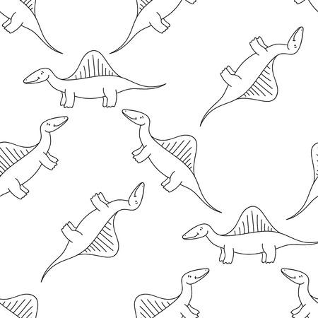 Cute cartoon dinosaurs pattern. Vector illustration 일러스트