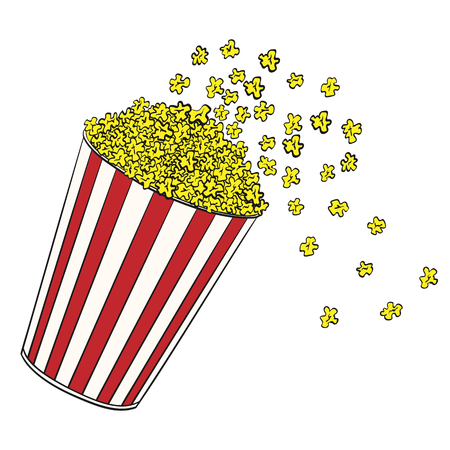 Cartoon popcorn basket. Cinema design in comics style. Vector illustration.