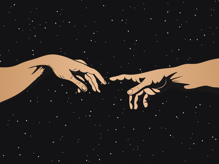 Adam and God hands on space background. Vector illustration.