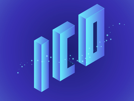Letters ICO. Isometric vector illustration