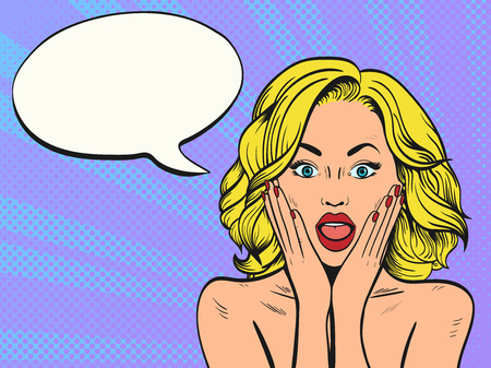 Surprised woman with open mouth.Comic woman. Pop Art vintage vector illustration