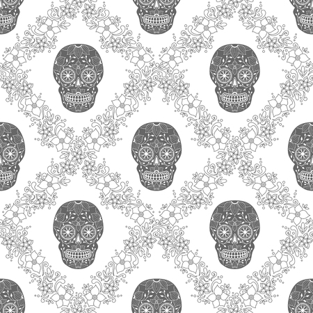 Day of The Dead Skull with floral ornament. Seamless pattern. Mexican sugar skull. Vector illustration Illustration