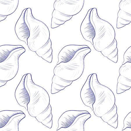 Seamless pattern of seashell vector illustration.