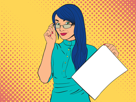 Woman in glasses isolated on white background. Girl with empty piece of paper.Comic woman. Pop Art vintage vector illustration