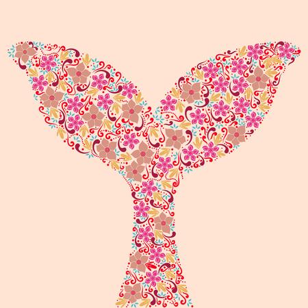 Walvisstaart. Floral sier vectorillustratie voor tattoo, t-shirt print. Vector Illustratie
