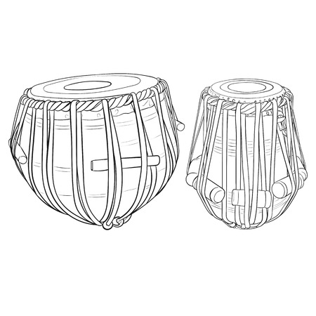 Indian drums tabla isolated on white background. Vector illustration.