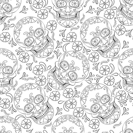 Day of The Dead Skull with floral ornament. Seamless pattern. Mexican sugar skull. Vector illustration Vectores