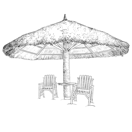 Sketch of parasol and chairs. Black and white vector illustration.
