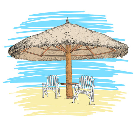 Sketch of parasol and chairs. Vector illustration.