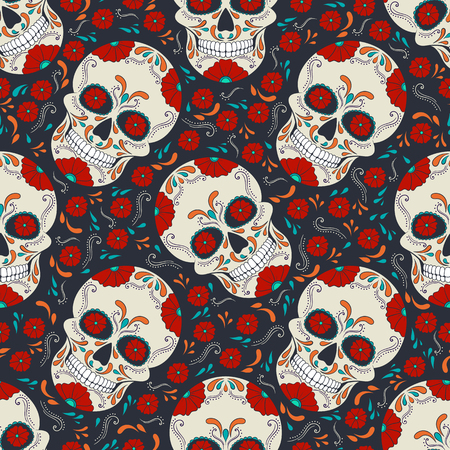 Day of The Dead Skull with floral ornament. Seamless pattern. Mexican sugar skull. Vector illustration Stock Illustratie
