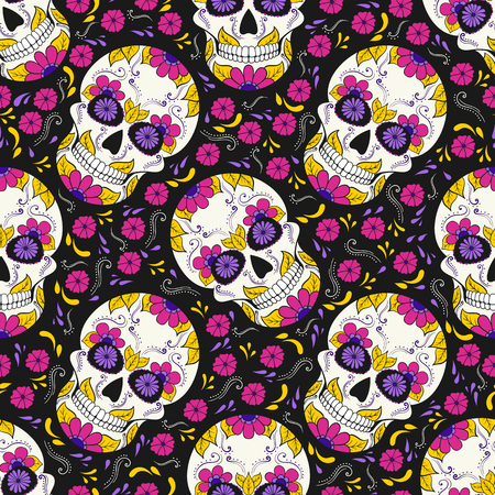 Day of The Dead Skull with floral ornament. Seamless pattern. Mexican sugar skull. Vector illustration Иллюстрация