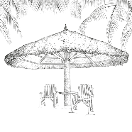 Sketch of parasol and chairs under palms. Vector illustration Illustration