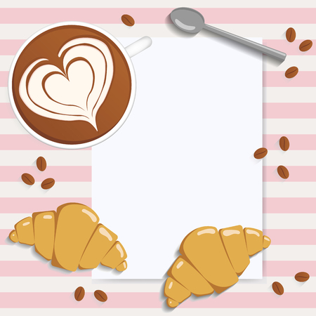 Latte art and blank sheet. Coffee, croissants, coffee beans and spoon. Place for text. Vector illustration