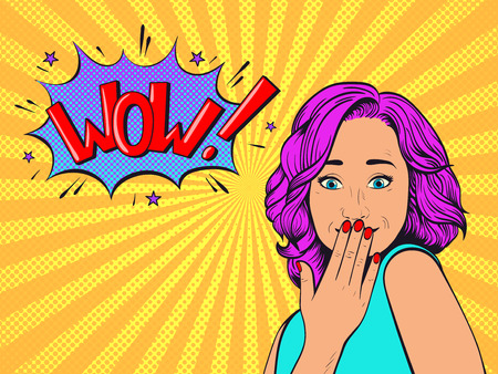 Surprised woman with pink hair.Comic woman. Wow face female. Pop Art vintage vector illustration Иллюстрация