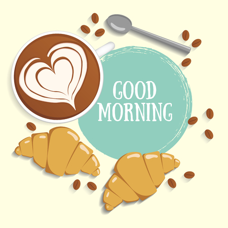 Latte art on a background with ink drops. Coffee, croissants, coffee beans and spoon. Good morning text. Vector illustration.
