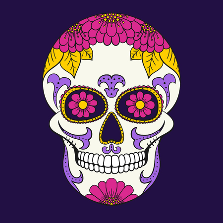 Day of The Dead Skull with floral ornament. Mexican sugar skull. Stock Illustratie