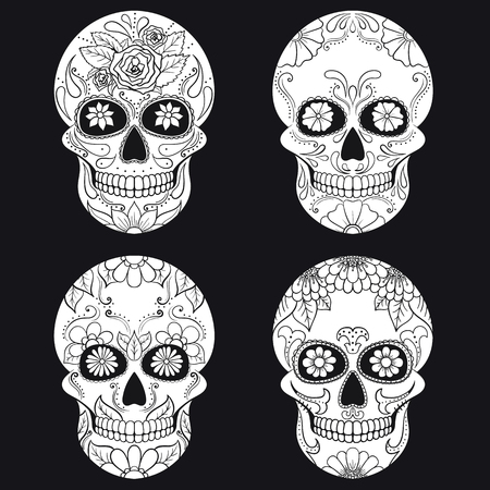 Day of The Dead Skull with floral ornament. Mexican sugar skull set. Vector illustration Illustration