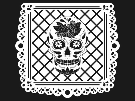 Day of The Dead paper decoration with Skull and ornament. Mexican sugar skull. Vector illustration Illustration