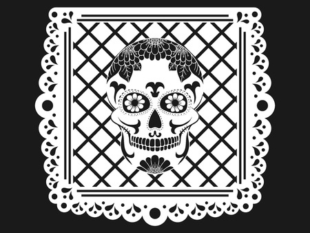 Day of The Dead paper decoration with Skull and ornament. Mexican sugar skull. Vector illustration Vetores