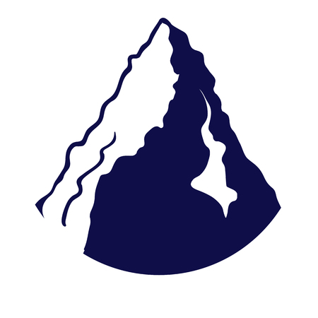 Mountain silhouette isolated on the white background. Vector illustration