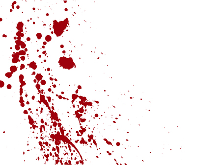 Blood drops and splatters on white background.