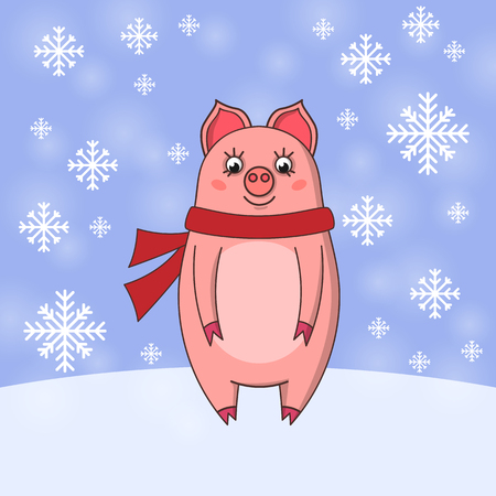 Cute pink pig with scarf on snow background. Vector illustration