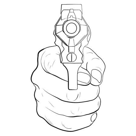 Hand with pistol. Guns forward. Vector illustration