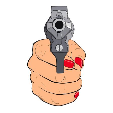 Womans hand with pistol isolated on white background. Guns forward. Vector illustration Ilustração