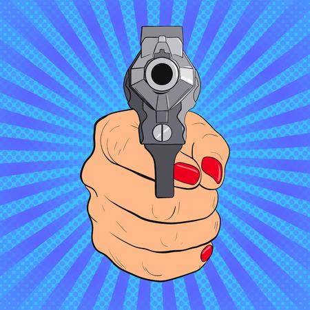 Womans hand with pistol. Guns forward. Pop Art vintage vector illustration Illustration