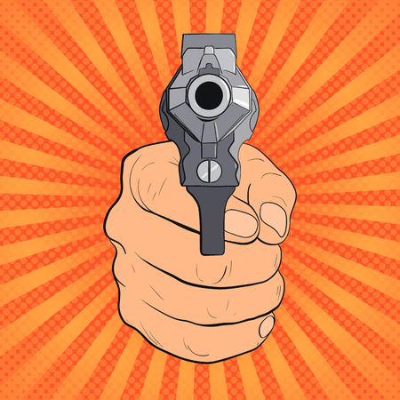 Hand with pistol. Guns forward. Pop Art vintage vector illustration