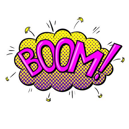 Comics text sound effects. Bubble speech phrase BOOM. Vector illustration