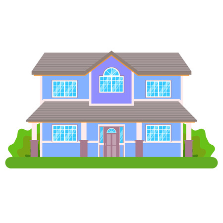 Cottage house isolated on white background. Front view. Vector Illustration in Flat Style