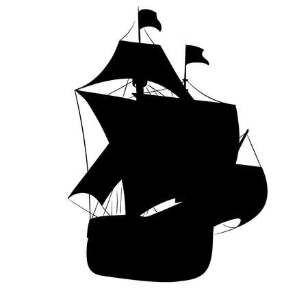 Old ship with sails silhouette isolated on white background. Vector illustration
